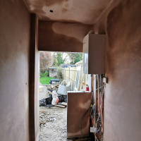 Plastering complete to new utility room