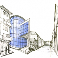 Art Gallery - Sketch view of the building