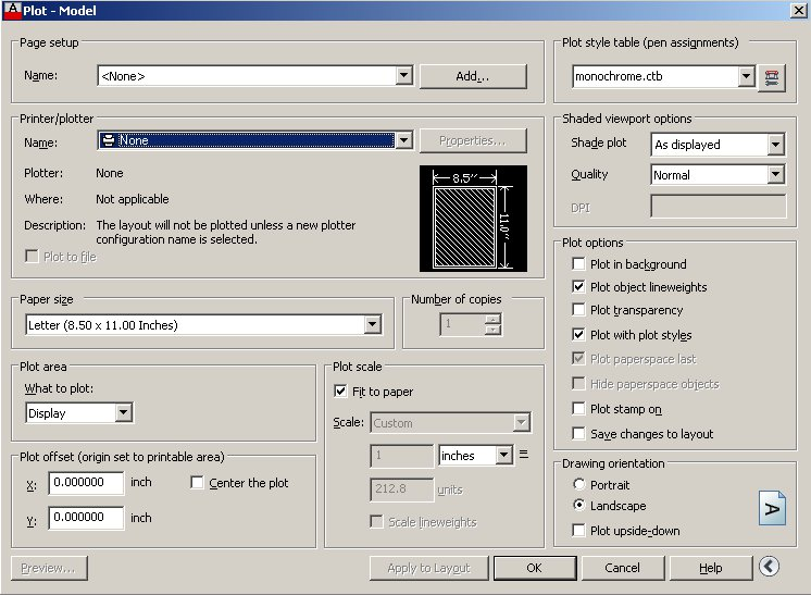 Autocad Plot Dialog