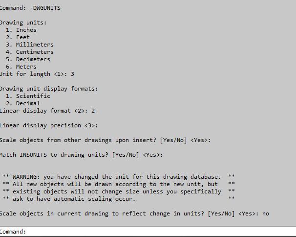 DWGUNITS command line options