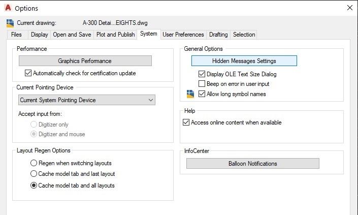 Hidden message settings options dialog